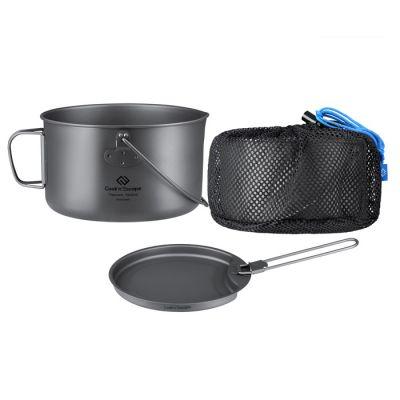 COOK'N'ESCAPE 1950ML Titanium Camping Pot & Pan Cookware CA2116