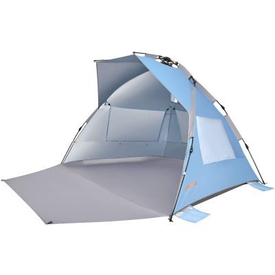 WEJOY XL Pop Up Beach Tent Sun Shade Shelter for 1-4 Person with UV Protection, Extended Porch, 3 Mesh Windows with Carrying Bag