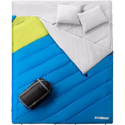 3-in-1 XL Queen Double Person Oversize Lightweight Water Repellent Sleeping Bag with 2 Pillows