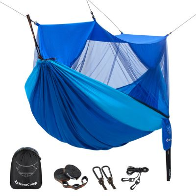 KingCamp Double Hamoock with Mosquito/Bug Net 10ft Tree Strap and Tree Straps and Carabiners KG2104