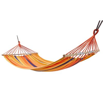 KingCamp Stripe Canvas Double Camping Hammock with Wood Seperate Bar KG2002