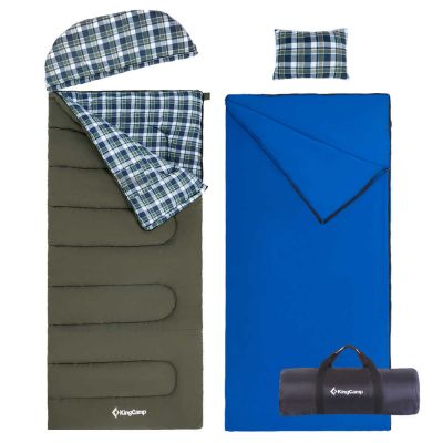KingCamp Oversize with Washable Flannel Liner & Pillow Adult Flannel Sleeping Bag