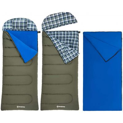 KingCamp Washable Flannel Liner Sports Hunter Sleeping Bag with Pillow
