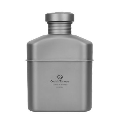 COOK'N'ESCAPE Titanium Ultralight 1000ml/33.8 fl oz Backpacking Water Bottle Leakproof Outdoor Camping Sports Water Bottle CA2102