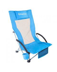 KingCamp High Sling Beach Camping Concert Folding Chair High Mesh Back-Blue